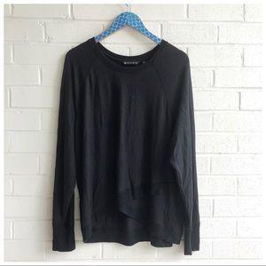 Athleta Black Cotton Modal Criss Cross Sweatshirt